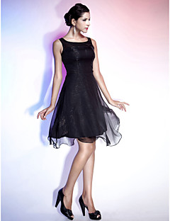 TS Couture® Cocktail Party / Holiday Dress - Little Black Dress Plus Size / Petite A-line / Princess Square / Straps Knee-length Chiffon with Draping