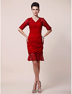 Lanting Sheath/ Column V-neck Knee-length Chiffon Mother of the Bride Dress