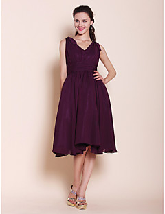 LAN TING BRIDE Knee-length Chiffon Bridesmaid Dress - A-line / Princess V-neck Plus Size / Petite