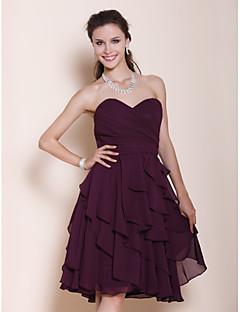 Lanting Knee-length Chiffon Bridesmaid Dress - Grape Plus Sizes / Petite A-line / Princess Strapless / Sweetheart