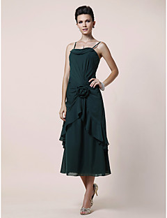 Lanting A-line Plus Sizes / Petite Mother of the Bride Dress - Dark Green Tea-length Sleeveless Chiffon