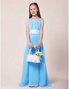 Lanting Bride® עד הריצפה שיפון / סאטן נמתח שמלה לשושבינות הצעירות  גזרת A מרובע / רצועות טבעי עם תד נשפך / סרט / סלסולים