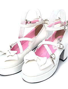 "3"" Cone Heel White PU Lolita Shoes with Heart Buckles"
