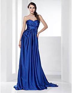 vestido de noche de gasa tren de una línea de novia de barrido / cepillo / prom