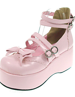 Lolita Shoes Sweet Lolita Princess Platform Shoes Bowknot 7 CM Black / Pink For Women PU Leather/Polyurethane Leather