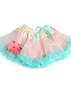 A-line / Princess Knee-length Flower Girl Dress - Tulle / Charmeuse with Bow(s) / Flower(s) / Ruffles