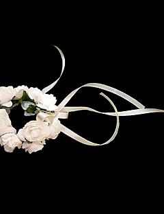 """Fleurs de mariage Rond Petit bouquet de fleurs au poignet Mariage La Fête / soirée Papier Blanc 4.72""""(Env.12cm)"""