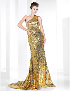 Formal Evening Dress - Sparkle & Shine / Elegant Plus Size / Petite Trumpet / Mermaid One Shoulder Sweep / Brush Train Sequined with