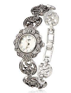 Dames Modieus horloge Armbandhorloge Japans Kwarts Legering Band Bloem Elegante horloges Zilver Zilver