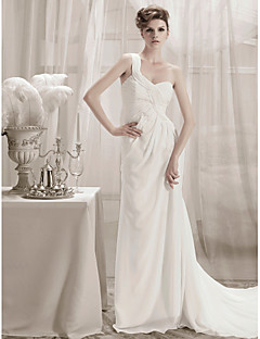 lanting 칼집 / 열 한 어깨 채플 기차 쉬폰 웨딩 드레스