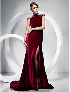 TS Couture Formal Evening Dress - Burgundy Plus Sizes / Petite Trumpet/Mermaid High Neck Sweep/Brush Train Velvet