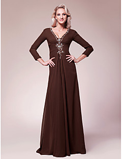 Lanting A-line Plus Sizes / Petite Mother of the Bride Dress - Chocolate Floor-length 3/4 Length Sleeve Chiffon