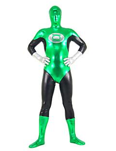Green and Black Mixed Color Shiny Metallic Spandex Zentai
