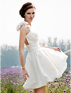 LAN TING BRIDE A-line Princess Wedding Dress - Chic & Modern Reception See-Through Short / Mini One Shoulder Taffeta withFlower Ruche