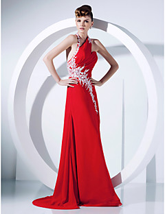 Prom / Formal Evening Dress - Ruby Plus Sizes / Petite A-line / Princess Halter Sweep/Brush Train Chiffon