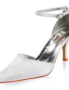 topkwaliteit satijn bovenste hoge hakken gesloten tenen met huwelijk bruids schoenen