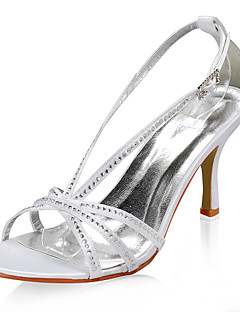 satin övre högklackade sandaler med rhinestone skor bröllop brud