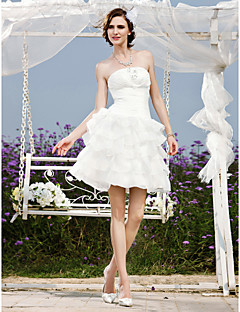 Lanting Bride A-line / Princess Petite / Plus Sizes Wedding Dress-Short/Mini Strapless Organza / Taffeta
