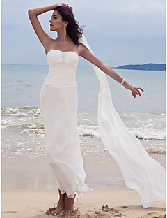Lanting Sheath/Column Petite / Plus Sizes Wedding Dress - Ivory Ankle-length Sweetheart Chiffon