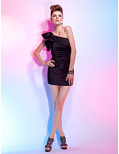 Cocktail Party Dress - Black Plus Sizes / Petite Sheath/Column One Shoulder Short/Mini Satin