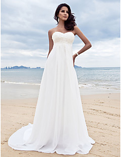 A-line Petite / Plus Sizes Wedding Dress - Ivory Court Train Sweetheart Chiffon