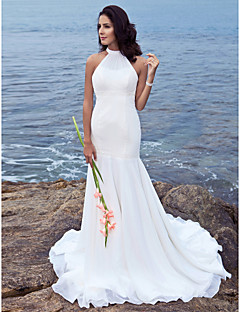Lanting Bride® Trumpet / Mermaid Petite / Plus Sizes Wedding Dress - Classic & Timeless / Chic & Modern Sweep / Brush Train Halter Chiffon
