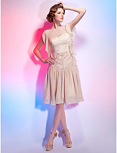 TS Couture Cocktail Party Dress - 1920s A-line Princess Bateau Knee-length Chiffon with Draping Lace Ruffles Sequins