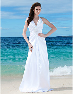 Lanting Bride® Sheath / Column Petite / Plus Sizes Wedding Dress - Chic & Modern / Reception See-Through Wedding Dresses Floor-length