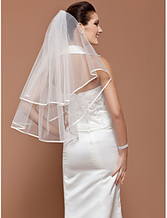 Wedding Veils One-tier Tulle Elbow Wedding Veils With Ribbon Edge (More Colors Available)