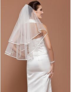 """הינומות חתונה שכבה אחת צעיפי מרפק קצה סרט 31.5 אינץ' (80 ס""""מ) טול לבן שנהב קו A, שמלת נשף, נסיכה, חצוצרה / בת הים, נדן / טור"""