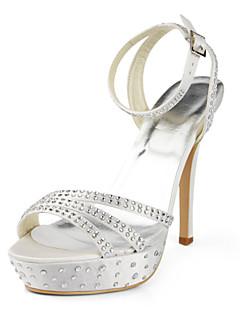 elegáns szatén tűsarkú platform strasszos esküvői cipő (több szín)