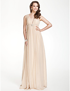A-Line V-neck Floor Length Chiffon Bridesmaid Dress with Beading Draping Crystal Brooch Pleats by LAN TING BRIDE®