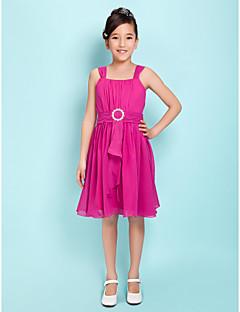 Lanting Bride® Knee-length Chiffon Junior Bridesmaid Dress A-line / Princess Square / Straps Natural withDraping / Sash / Ribbon /