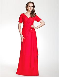 ロングドレス スレンダーライン シフォン