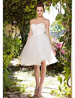 Lan Ting Ball Gown Plus Sizes Wedding Dress - Ivory Knee-length Sweetheart Taffeta/Tulle