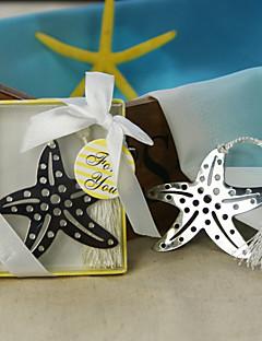étoiles de mer en acier inoxydable faveur signet avec pompon