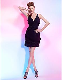 Sheath/ Column V-neck Short/ Mini Chiffon Lace Cocktail Dress
