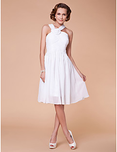 A-line Plus Sizes Mother of the Bride Dress - White Knee-length Sleeveless Chiffon