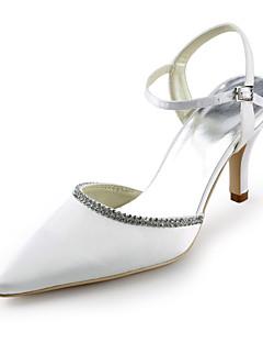 cetim de salto stiletto pontudas sandálias de dedo do pé com sapatos de casamento de strass (cores mais)