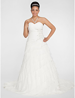 Lanting Bride A-line / Princess Petite / Plus Sizes Wedding Dress-Chapel Train Sweetheart Chiffon