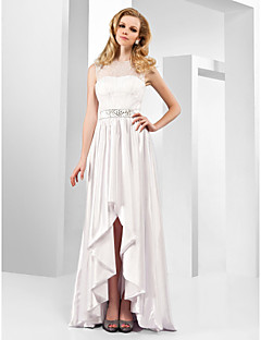 Formal Evening Dress - White Plus Sizes A-line/Princess Jewel Asymmetrical/Floor-length Stretch Satin/Organza