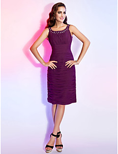 Dress - Grape Plus Sizes Sheath/Column Scoop Knee-length Chiffon
