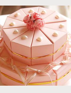 rosa Karte Papier Hochzeit Gunsten Boxen mit Bändern und Herzen (set of 20)
