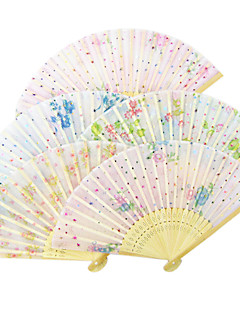 Lovely Cloth Wave Style Hand Fan (Random Color) - Set Of 6