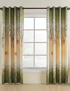Two Panels Green Leaf Polyester Panel