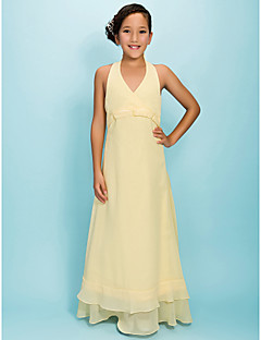 Floor-length Chiffon Junior Bridesmaid Dress - Daffodil A-line / Princess Halter / V-neck