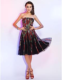 Retrouvailles robe de cocktail party / de vacances - imprimer une ligne / Princesse Sans bretelles Mi-longueur tulle