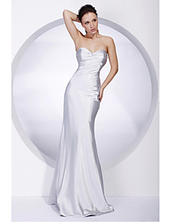 Military Ball/Formal Evening Dress - Silver Plus Sizes Trumpet/Mermaid Strapless/Sweetheart Floor-length Stretch Satin