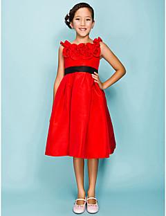 Lanting Bride® Knee-length Taffeta Junior Bridesmaid Dress Ball Gown / Princess Jewel Empire withDraping / Flower(s) / Ruffles / Sash /