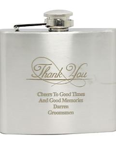 Marié / Groom Cadeaux Piece / Set Flasque Classique Mariage / Anniversaire / Remerciement Inox Personnalisé Flasque ArgentSac en